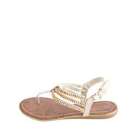 RAINBOW RHINESTONE TRIPLE T-STRAP THONG SANDALS