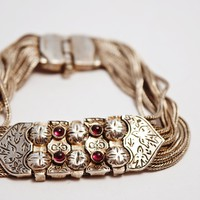 Vintage Silver and Garnet Turkish Bracelet