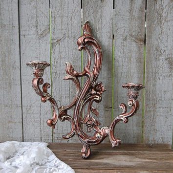 Candle Sconce, Shabby Chic, Vintage, Bronze, Ivory, Candle Holder, Homco, Syroco, Hollywood Regency, Double Sconce, Wall Sconce