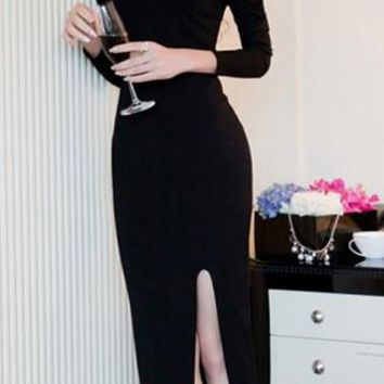 Black One Shoulder Long Sleeve Hem Midi Dress