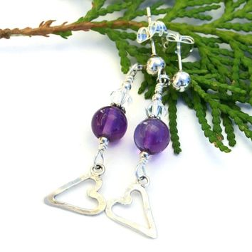 RESERVED. Sterling Heart and Amethyst Handmade Earrings, Valentines Artisan Dangle Jewelry