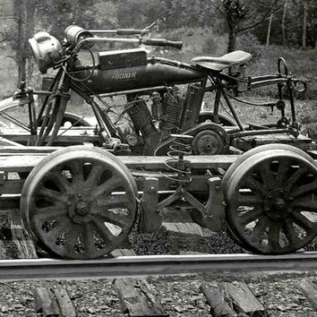 Indian Motorcycle Conversion, Railroad Car, Railway Tracks, B&W Print c.unknown =Reproduction Antique/Vintage Photo Photograph Giclee Print