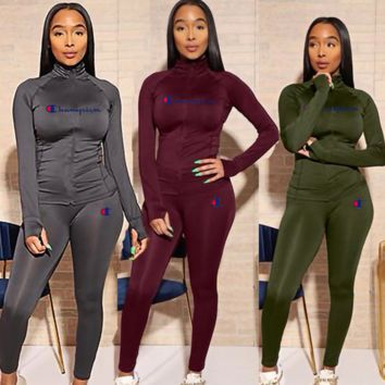 Champion Women High Collar Sweater Pants Set Two-Piece