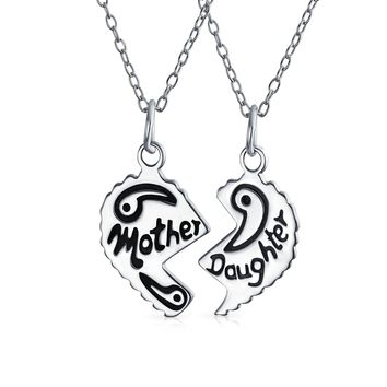 Etched Mother Daughter Heart Break Apart 925 Sterling Silver Necklace