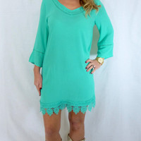 Crochet Shift Dress: Mint