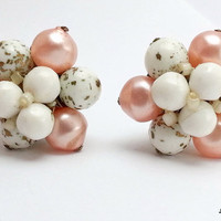 Vintage West Germany Cluster Clip On Earrings, White Pink Beaded Cluster Earrings,1950's Cluster Clip Earrings, Mid Century Costume Jewelry