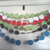 CUSTOM COLOR Paper Circle Garland , Single Color Dot Garland 2 inch Circles, 10 Feet Long, Graduation, Birthdays, Any Occasion