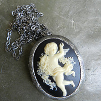 Victorian Cameo Locket Cherub Angel Cameo Necklace  Locket 30 x 40 mm