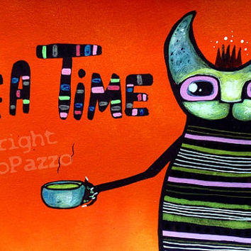 Tea Time - orig. cat illustration on paper - Pop Art cat - Acrylic paint & watercolor -