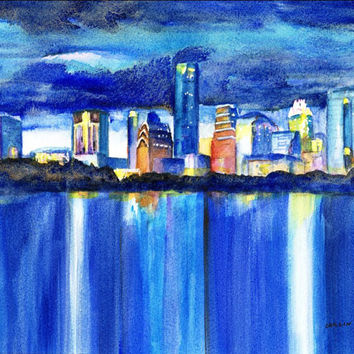 "Austin Texas Skyline Sunset, Original Watercolor painting, 8x10"" Landscape, Cityscape, Downtown Austin TX, Architecture, Lady Bird Lake"