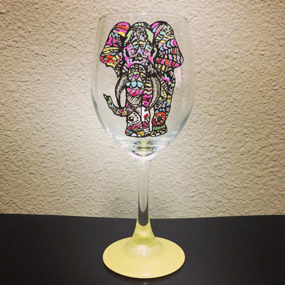 Tribal Elephant Wine Glass Hand Painted From