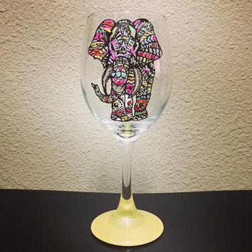 Tribal Elephant Wine Glass - Hand Painted