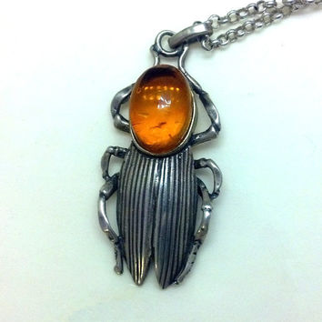 Vintage Egyptian Scarab Sterling Silver with Fossilized Amber Pendant