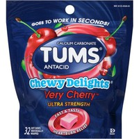 TUMS Chewy Delights Antacid Relief Calcium Soft Chews, Very Cherry Flavor, Ultra Strength, 32 Pieces - Walmart.com