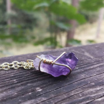 Genuine amethyst necklace wire wrapped crystal gold purple boho summer hand designed