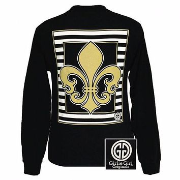SALE Girlie Girl Originals Gold Saints Fleur De Lis Glitter FDL Black Long Sleeves T Shirt