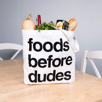 Foods Before Dudes Market Tote Bag: Screen Printed American Apparel Feminist Grocery Shopping Bag