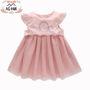 HG-hill SS18-0033PK Princess dresses for girls children birthday party beautiful clothes wedding costumes baby boutique gown