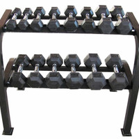 Weider 226lb Rubber Hex Dumbbell Set/Rack-Weights & Dumbbells-Weight Training-Fitness-GEAR - Sport Chalet