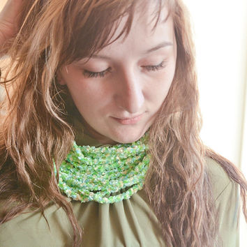 Green, blue and yellow fuzzy knitted necklace - neckwarmer - infinity scarf