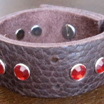 Leather Bracelet. Brown Leather Cuff with Red Crystals