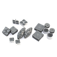 Polymer Clay black and white beads, combination set of rich variety of spiral beads set of 14 unique beads