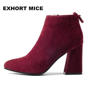 Winter fashion suede ankle boots fashion square toe thick heel women boots high heel lady boots Zipper