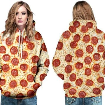 Red Pizza Printed Skateboarding Hoodies Delicious Food Hoody Sweatshirt Autumn & Winter Sports Pullovers Womens Tracksuit Jacket