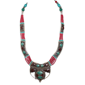 Coral Turquoise Handmade Tibetan Necklace