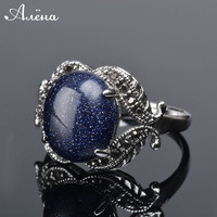 Blue Sand Ring For Women Oval Natural Gravel Stone Vintage Black Antique Cubic Zirconia Rhinestone Silver Plated Ring Anel Azul