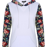 Floral Print Long-Sleeve Hoodie Pocket Sweatshirt