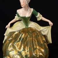 Rosenthal Figurine Woman Curtsy or Dancing, Green Dress Gold Design