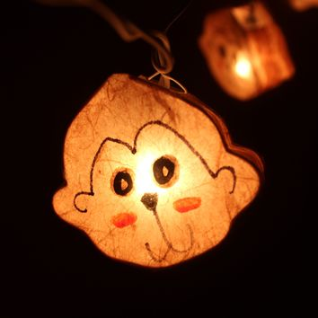 Monkey Animal Shaped Handmade Mulberry Paper String Light Lanterns