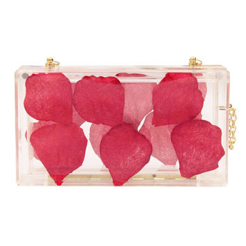 Transparent Petal Embellished Clutch Bag
