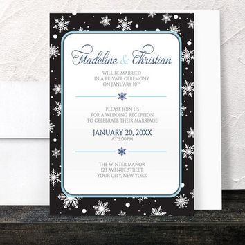 Winter Reception Only Invitations - Midnight Snowflake design with Navy Blue and Black - Post-Wedding Reception - Printed Invitations