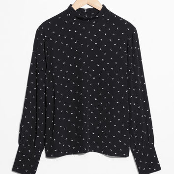 High Neck Blouse - Mid-Flight Print - Blouses - & Other Stories US