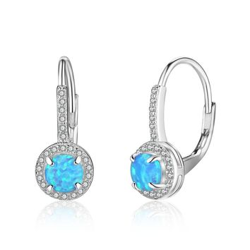 STYLEDOME Sweet Round Created Opal 925 Sterling Silver Hoop CZ Earrings