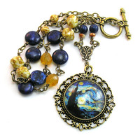 Starry Night, Van Gogh, Artist Pendant Necklace, Blue Lapis