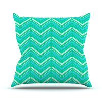 """CarolLynn Tice """"Symetrical"""" Teal Turquoise Outdoor Throw Pillow"""