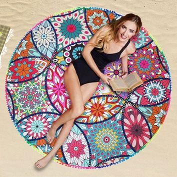 146cm Round Beach Towel Polyester Printed Towel Outside Summer Fringed Cotton Beach Towel Yoga Mat Sun Shawl Wrap Skirt