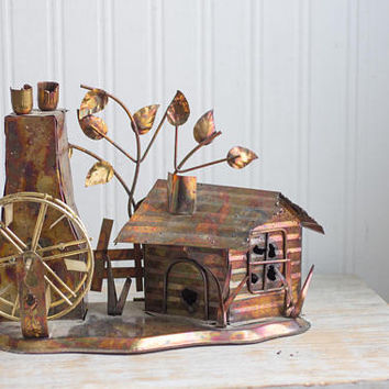 Vintage Copper Village, Tin Music Box, Water Wheel Rustic House, Retro Copper Sculpture, Collectible Metal