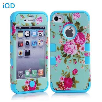 For iPhone4 4S Case  Hybrid Armor Chic Peony Flower High Impact Cover Case for iPhone 4 4S Peony