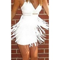 White Sleeveless V Neck Fringe Skirt Bodycon Mini Dress