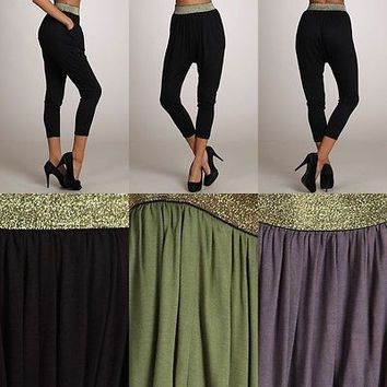 Women's Knit Jersey Drape Cropped Harem Pencil Pants Hip-Hot Stretchy Trousers