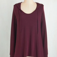 Mid-length Long Sleeve Hoodie Cookie Competition Hoodie in Burgundy