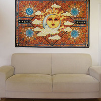 "Sun Moon Celestial Tapestry Wall Hanging 50""x75"" signed by Artist Dan Morris titled Heavenly"