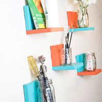 Simple Shelf - Wall Storage - Bookshelves - Floating Shelf - Set of 5 - Two Tone Paint, Fun Color
