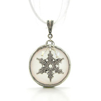 Snowflake Necklace Stained Glass Full Moon Soldered Pendant White