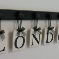 LONDON Kids Alphabet Nursery Letters. Set Includes 6 Wooden Hangers and Name LONDON Painted Black. Baby Girls Room Wall Decor
