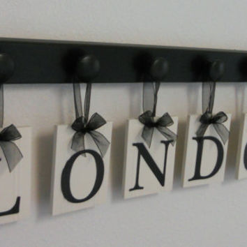 london kids alphabet nursery letters set includes 6 wooden hangers and name london painted black